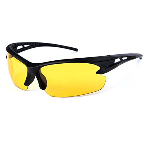 SODIAL(R) black frame yellow Night Vision sheet outdoor Cycling - Cycling Best Sunglasses