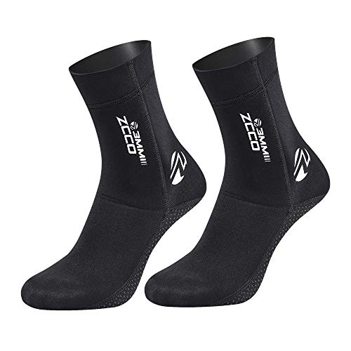 ZCCO 3mm Neoprene Socks for Scuba Diving Snorkeling Swimming&All Water Sports (Black, L)
