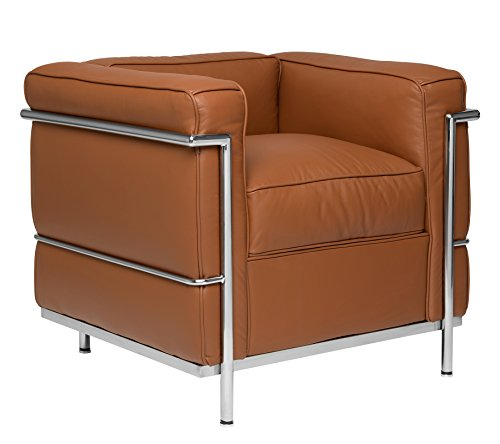 Carnegie Le Corbusier LC2 Style Armchair (Brown and Chrome)