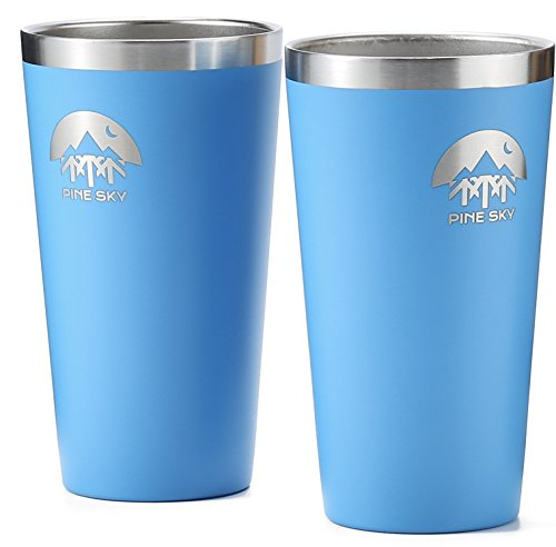 Horizon Glass Tumbler - Stainless Steel True Pint Cup by Pine Sky, 16 oz Vacuum Insulated, Stackable Tumbler (Set of 2, Blue Horizon)