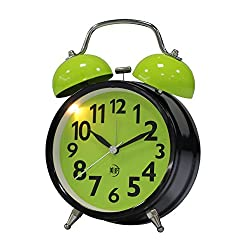 Maytime Quartz Analog Retro Vintage Simple Non-Ticking Twin Bell Alarm Clock With Loud Alarm and Nightlight 4.5 Lightgreen
