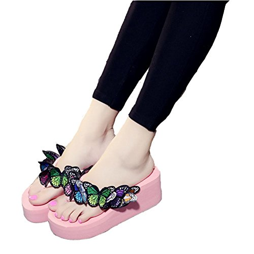 (T-JULY Womens Ladies Flower Wedge Flip Flops for Women Embroidery Butterfly Sandals Fashion Slides Pink)