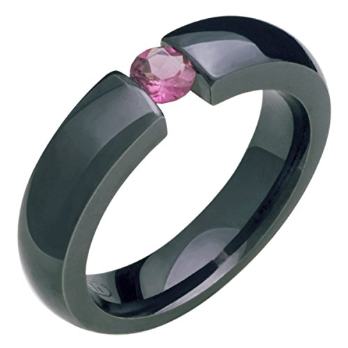 (Alain Raphael Black Titanium and Pink Tourmaline Gemstones Tension Set Ring 5mm Wide Comfort Fit Wedding Band)
