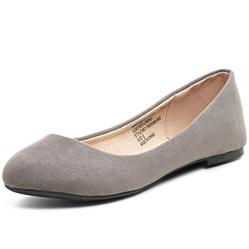 - alpine swiss Womens Gray Micro-Suede Pierina Ballet Flats 10 M US
