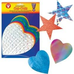 Hygloss Products Holographic Heart Shape Cut-Outs Sparkly Card Stock Hearts in Assorted Designs 10 Per Pack 6-Inch Red
