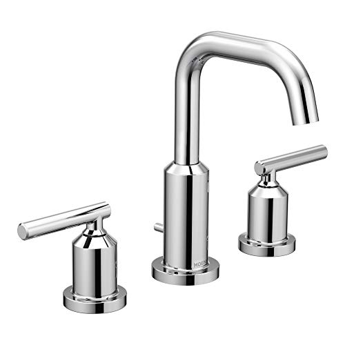 (Moen T6142 Gibson Two-Handle 8-Inch Widespread High Arc Modern Bathroom Sink Faucet, Valve Required, Chrome )
