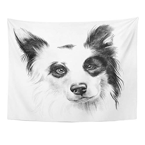 SPXUBZ Wall Tapestry Black Border Collie Pencil Drawing Portrait Dog Breed Closeup White Black Cute Wall Hanging Decoration Soft Fabric Tapestry Perfect Print for House Rooms