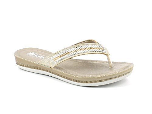 Super Lightweight Size Casual on Summer Comfort Shoes Womens AARZ Wear Gold Sandals Diamante LONDON Everyday Slip Ladies YwHvHqPfWB