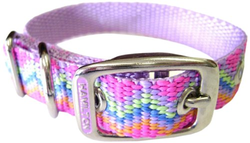 Hamilton 5/8-Inch by 14-Inch Single Thick Nylon Deluxe Dog Collar, Mutli Colored Pastel Weave, Lavender