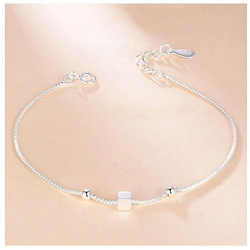 Whiteswallow Sterling Silver Bracelet Cube Sugar Jewelry for Women