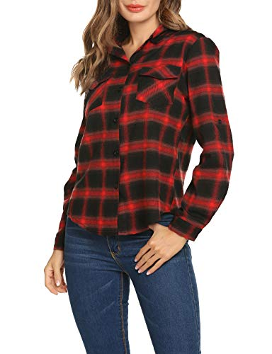 07ffb645696c8 Women s Plaid Flannel Long Sleeve Shirt Casual Collared Button Boyfriend  Blouse