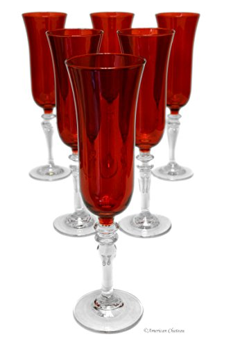 Set 6 Ruby Red Glass Pedestal 5.75oz Champagne Flute Glasses in Gift ()