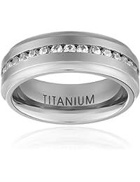 7mm Titanium Channel Setting Cubic Zirconia Men's Eternity Band