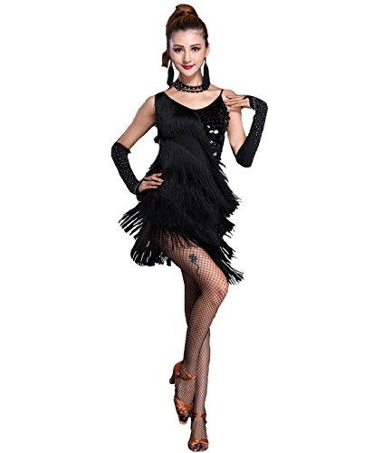 [Femirah Women's Sequin Fringe Dress Paso Doble Latin Costumes Dresses (6/8, Black)] (Paso Doble Costume)