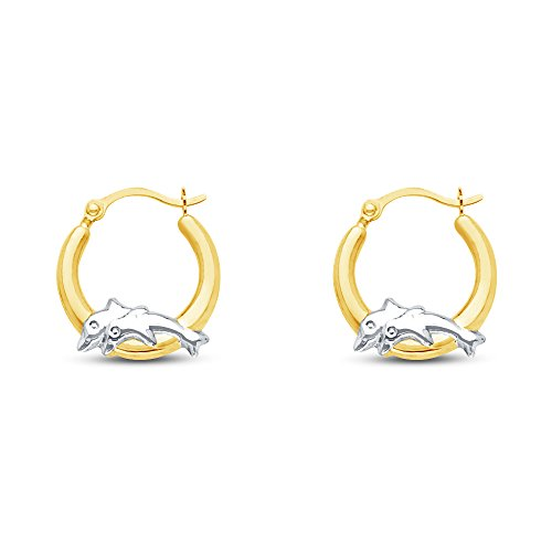 14k Two Tone White and Yellow Gold Fancy Dolphin Hoop Earrings (13mm - Dolphin Tone Two