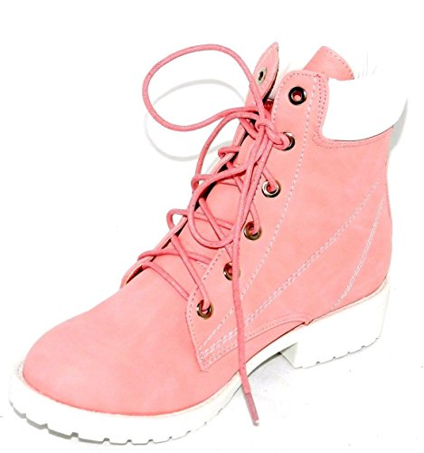 Pink Rhinestones Padded Weather Work Shoes DEV Women's All Collar Lace Up Ankle Ankle Boot qxHnO1XwSY