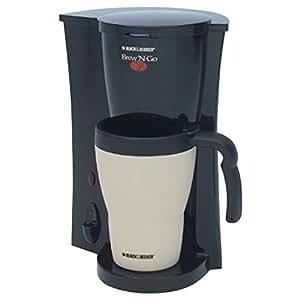 BLACK+DECKER DCM18 Brew 'n Go Personal Coffeemaker with Travel Mug, Black/White
