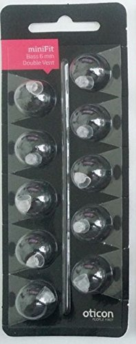 (Oticon MiniFit Double Vent Bass Domes: 10-pack (Small 6mm))