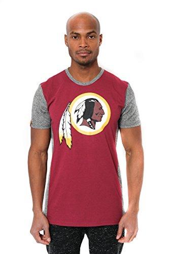 Washington Block - Icer Brands NFL Washington Redskins Men's T-Shirt Raglan Block Short Sleeve Tee Shirt, Large, Maroon