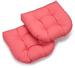 Blazing Needles Twill 19-inch By 19-inch By 5-inch U-shaped Cushions, Hot Pink, Set Of 2
