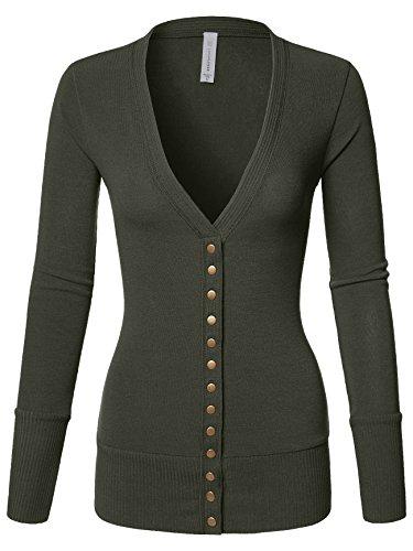 Long Cardigan Three Button (Luna Flower Women's V-Neck Snap Button Long Sleeve Soft Basic Knit Snap Cardigan Sweater Dark_Olive 3X (GCDW027))