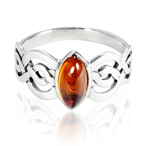 (Chuvora 925 Sterling Silver Genuine Honey Amber Celtic Double Infinity Knot Band Ring - Nickle Free Size 7)