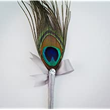 Peacock Feather Boutonniere-gray Ribbon Rhienstone