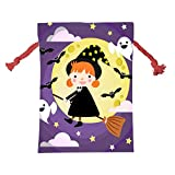 OpisOUYsa Witch Girl Christmas Bag Drawstring Santa Claus Sack for Holiday Presents