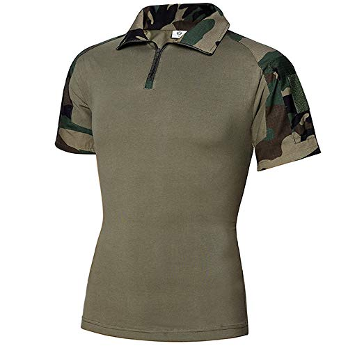 Tactical Combat Short Shirt Military Camo Short Sleeve T-Shirt for Airsoft Paintball (Jungle Camo, M)
