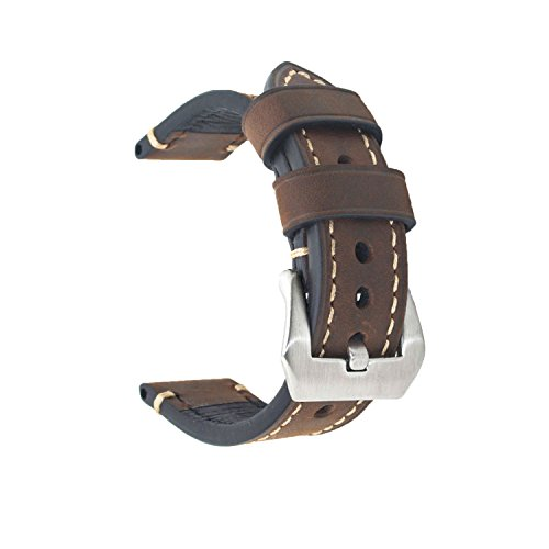 Dark Brown 20mm Genuine Leather Wristwatch Watch Band Oil Tan Vintage Strap for Men with Stainless Buckle (Current Watch For Men)
