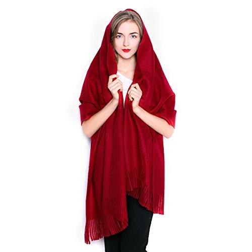 (REEMONDE Women Oversized Large Ultra Soft Warm Cashmere Lambswool Pashmina Wrap Shawl Stole Scarf (Burgundy))