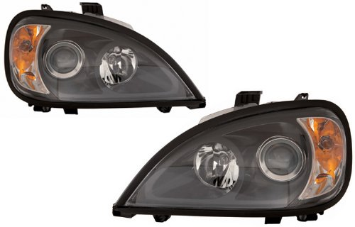 Depo 340-1104P-ASN2 Freightliner Columbia Driver/Passenger Side Replacement Headlight - Euro Black Depo Headlights