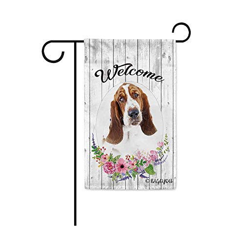 BAGEYOU Welcome Spring Summer Flowers Cute Dog Basset Hound Decorative Garden Flag Lovely Puppy Floral Seasonal Home Decor Banner for Ourside 12.5X18 Inch Print Double -