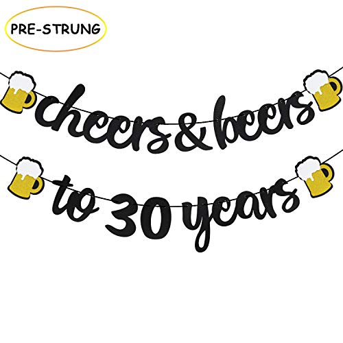 Joymee Cheers & Beers to 30 Years Black Glitter Banner for 30th Birthday Wedding Aniversary Party Supplies Decorations - PRESTRUNG (Cheers & Beers to 30th -