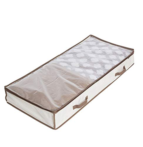 WANNAKEEP Zippered Under Bed Storage Organizer, Breathable Polyester and Cotton Storage Bag for Blankets Clothes, Shoes, and Linens 17.5 x 41.5 x 5.5 inches, Beige