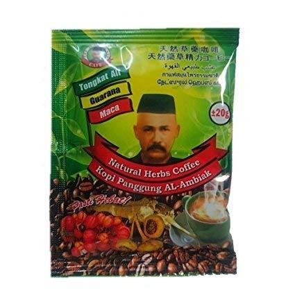 Natural herb coffee tongkat ali MACA Guarana Men Improve Sex Male Testosterone Booster 20 grams x 5 sachets. (Best Herb Tongkat Ali)