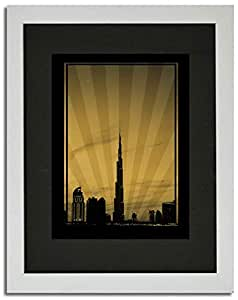 Dubai Skyline Down Town - Sepia No Text F02-nm (a1) - Framed