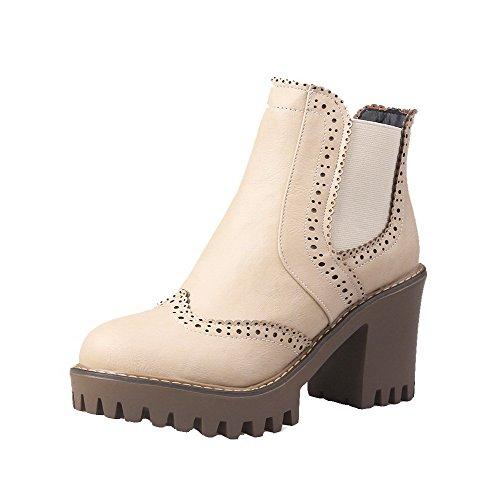 AllhqFashion Damen Rund Zehe Hoher Absatz PU Rein Reißverschluss Stiefel, Aprikosen Farbe, 39