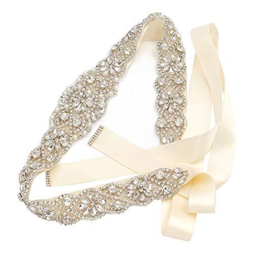 Yanstar Handmade Crystal Beads Rhinestone Bridal Wedding Belt Sash With Cream Ivory Ribbon For Bridal Wedding PartyGowns Dress
