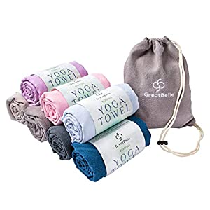 "GreatBelle Yoga Towel with Storage Pouch (72"" x 26"") – Non-Slip Super Absorbent Microfiber Mat Yoga Towel Use for Bikram and Hot Yoga Pilates Fitness Exercise and Stretching"