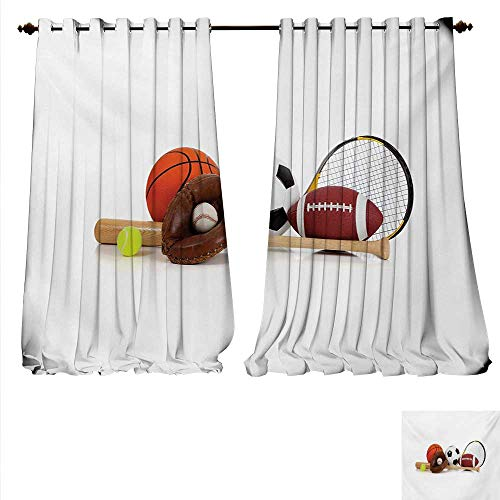 Price comparison product image familytaste Customized Curtains Assorted Sports Equipment Different Balls Bat Tennis Racket Baseball Glove on White Thermal Insulating Blackout Curtain W84 x L96 Multicolor.jpg