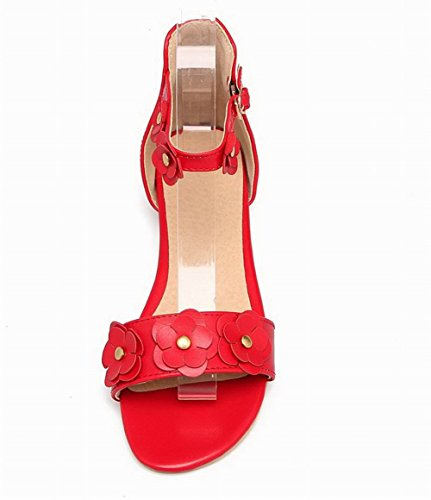Solid Toe Red Low Open Heels Women's WeenFashion Pu Sandals AUxPPw