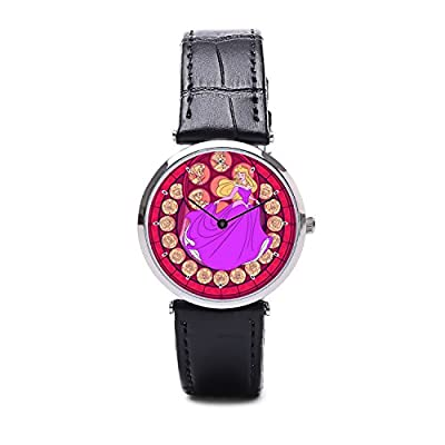 0STG027 aurora sleeping beauty Stained Glass Leather Watch