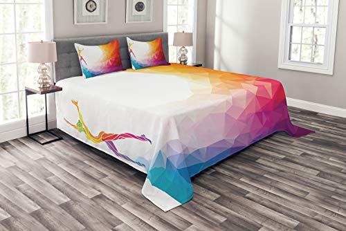 - Ambesonne Sports Bespread Set Queen Size, Gymnastics Girl Gymnast Portrait Colored Geometric Digital Shapes Modern Olympics, Decorative Quilted 3 Piece Coverlet Set with 2 Pillow Shams, White Ruby