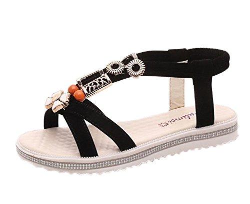 Doux Plage Flats Mode Chaussures Eté Femme Gladiateur Clip Noir Herringbone Sandales Minetom Sandals Bohême Toe Plat Perlée qXzHwE