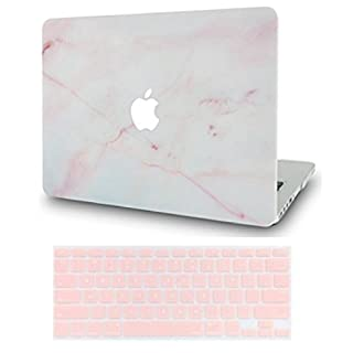 LuvCase2in1LaptopCaseforMacBookAir 13 Inch A1466/A1369 (No Touch ID)(2010-2017)RubberizedPlasticHardShellCover &KeyboardCover (Pink Marble)