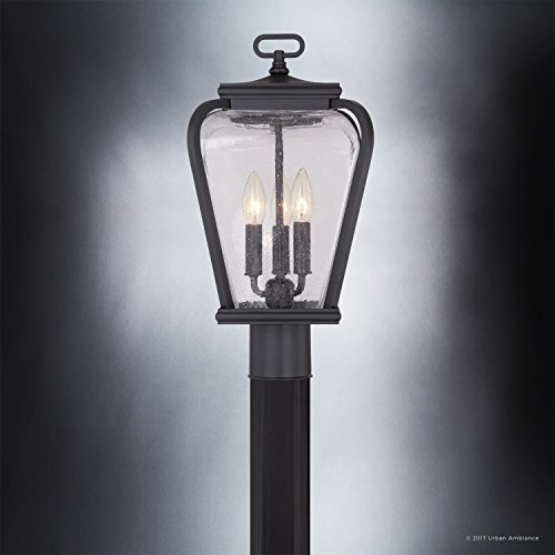Luxury French Country Outdoor Post Light, Medium Size: 18''H x 9.5''W, with Mediterranean Style Elements, Soft and Simple Design, Inky Black Silk Finish and Seeded Glass, UQL1203 by Urban Ambiance by Urban Ambiance (Image #3)