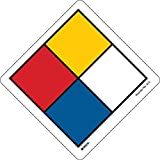 Hazardous Communication and Right-to-know Labels, Coated, Paper, 4'' x 6'', Black/Blue/Red/Yellow On White (Pack of 100)