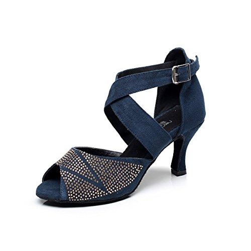 BAYSA Women Fashion Rhinestone Latin Ballroom Salsa Tango Dance Shoe (US9, Dark (Dark Salsa)