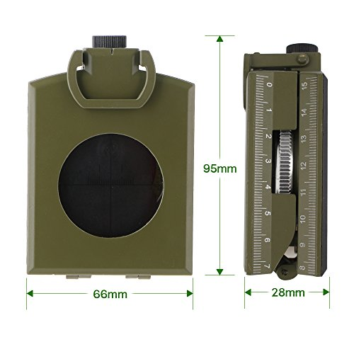 ARCHEER Professional Compass Metal Pocket Size Waterproof 50mm Dial Compass Multifunction Military Army Sighting Compass with Inclinometer for Camping Hiking